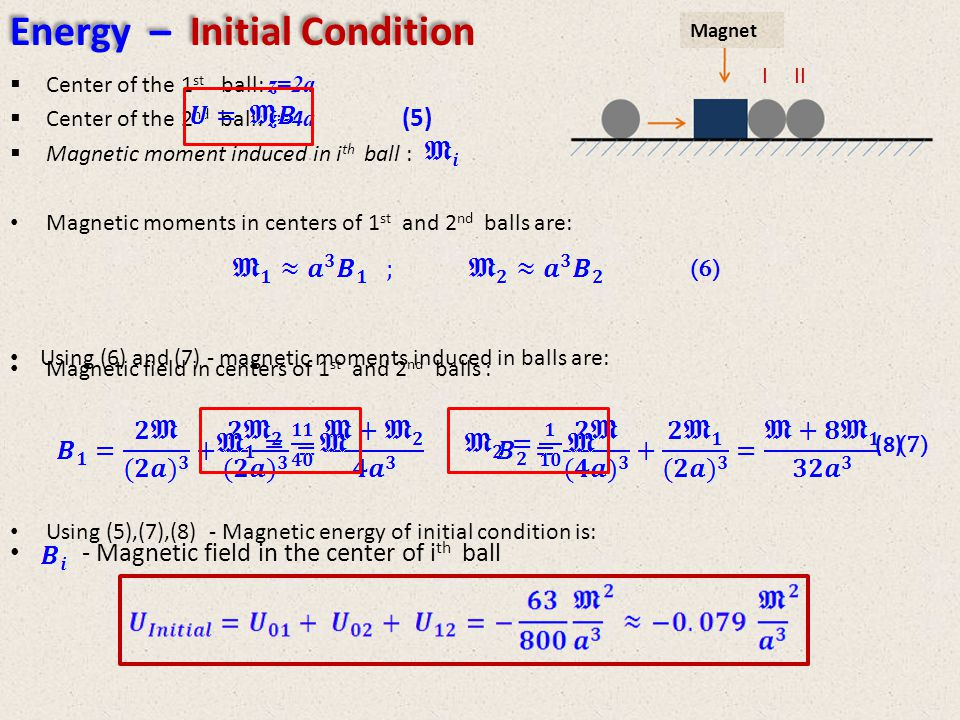 Center of the 1 st ball: z=2a Center of the 2 nd ball: z= 4 a Magnetic moment induced in i th ball : Magnetic moments in centers of 1 st and 2 nd balls are: Magnetic field in centers of 1 st and 2 nd balls : - Magnetic field in the center of i th ball Using (5),(7),(8) - Magnetic energy of initial condition is: III (6) (7) Using (6) and (7) - magnetic moments induced in balls are: (8) (5) Energy – Initial Condition Magnet