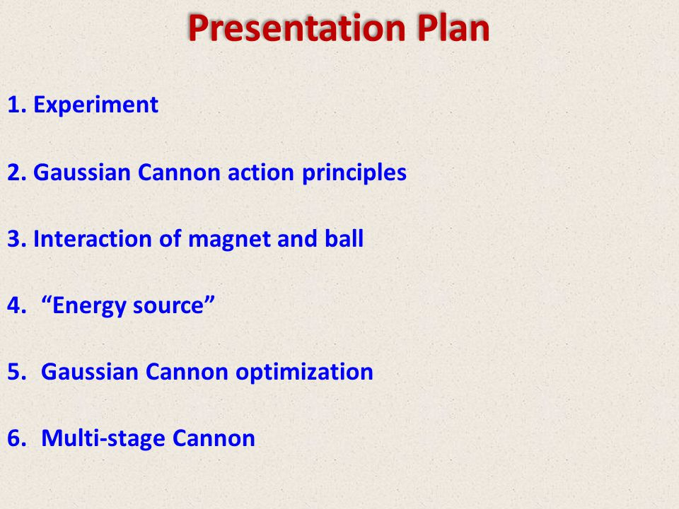 Presentation Plan 1.Experiment 2.Gaussian Cannon action principles 3.Interaction of magnet and ball 4.Energy source 5.Gaussian Cannon optimization 6.Multi-stage Cannon