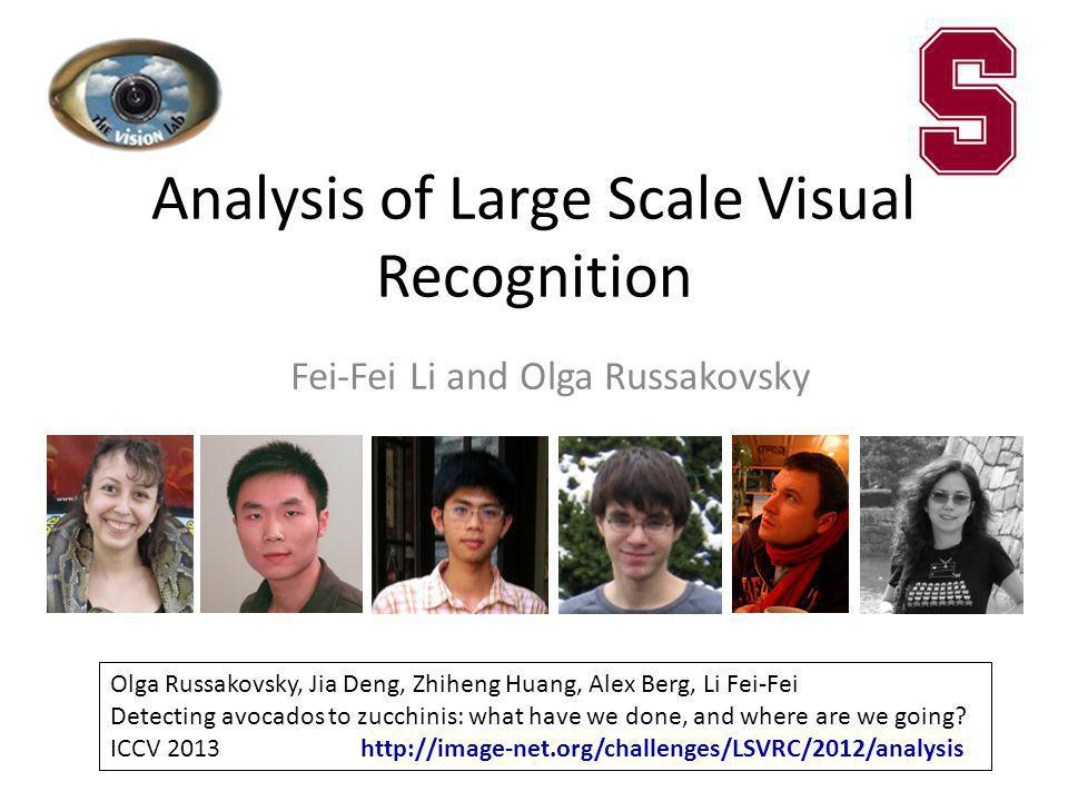Analysis of Large Scale Visual Recognition Fei-Fei Li and Olga Russakovsky Refernce to paper, photos, vision-lab, stanford logos Olga Russakovsky, Jia