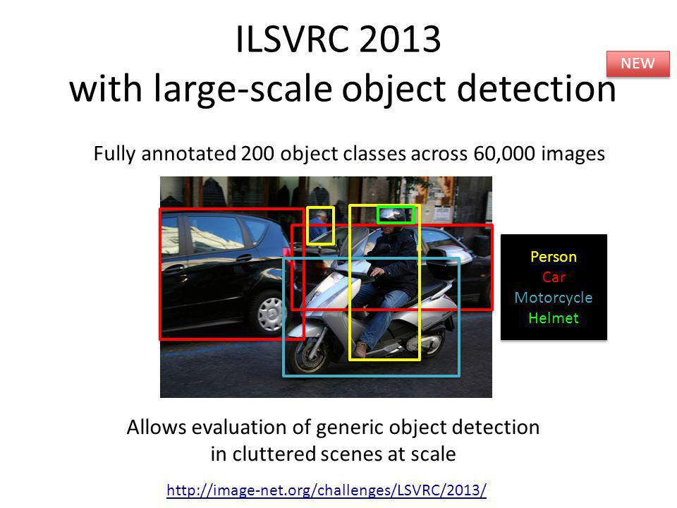 ILSVRC 2013 with large-scale object detection 3x http://image-net.org/challenges/LSVRC/2013/ Fully annotated 200 object classes across 60,000 images A