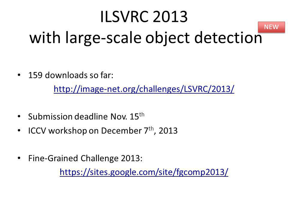 159 downloads so far: http://image-net.org/challenges/LSVRC/2013/ Submission deadline Nov. 15 th ICCV workshop on December 7 th, 2013 Fine-Grained Cha
