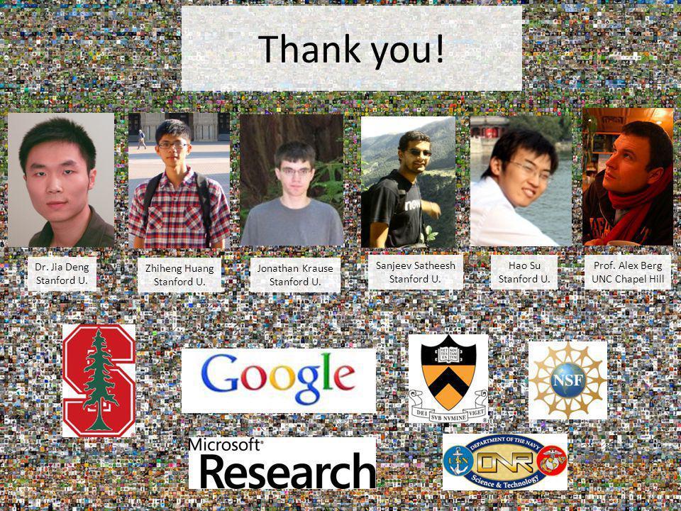 Thank you! Prof. Alex Berg UNC Chapel Hill Jonathan Krause Stanford U. Sanjeev Satheesh Stanford U. Zhiheng Huang Stanford U. Dr. Jia Deng Stanford U.