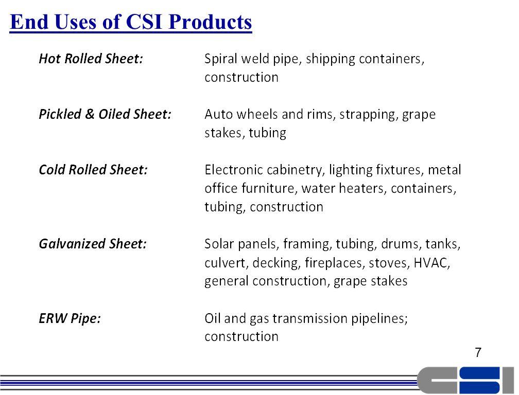 8 CSIs Success is Based Primarily on Sales Within 11 Western States CSI Eastern U.S.