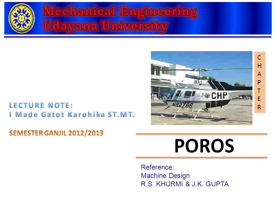 CHAPTERCHAPTER Reference: Machine Design R.S. KHURMI & J.K. GUPTA