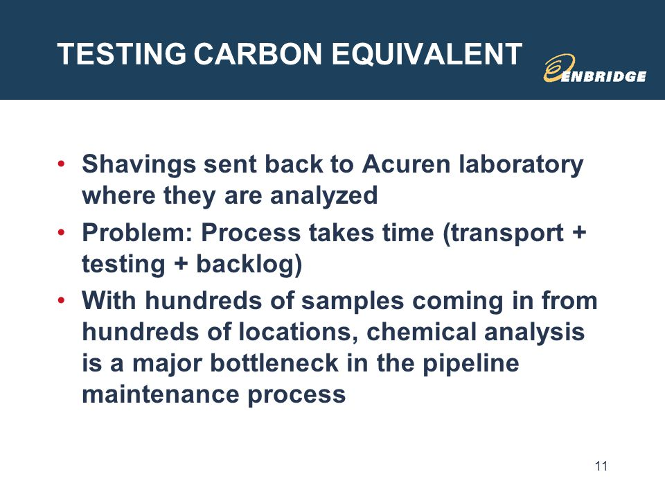 TESTING CARBON EQUIVALENT Shavings sent back to Acuren laboratory where they are analyzed Problem: Process takes time (transport + testing + backlog)