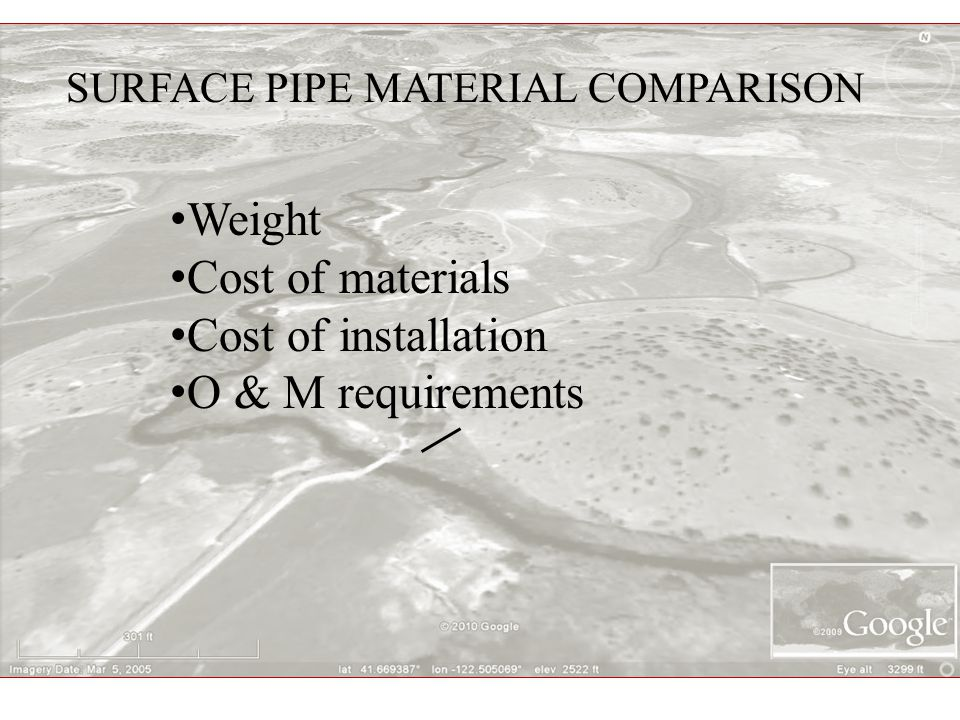 SURFACE PIPE MATERIAL COMPARISON Weight Cost of materials Cost of installation O & M requirements