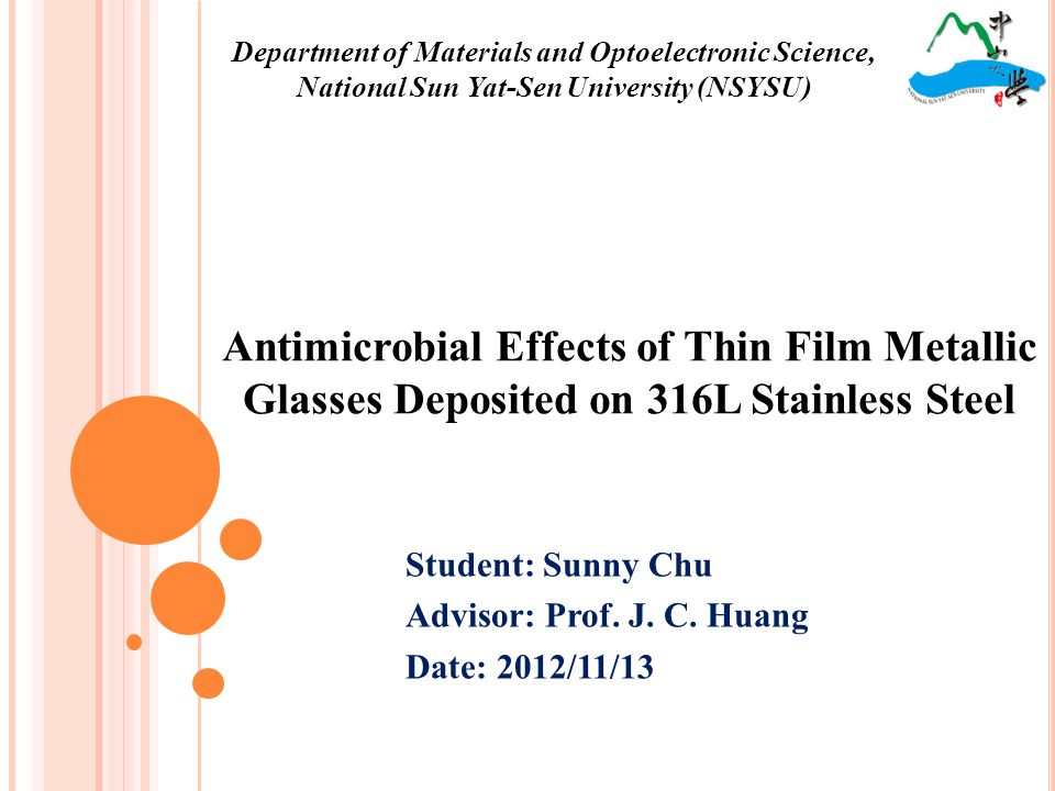 Antimicrobial test Staphylococcus aureus SampleThickness(nm)Optical Density Test time0 hr3 hr Blank control52.764.9 Ag-based TFMG (1)53.565.4 Ag-based TFMG (2) 1306 57.177.1 Ag-based TFMG (3) 1972 56.982.6 Ag-based TFMG (4) 1972 52.984.1 22 Antimicrobial test was conducted by KMUH.