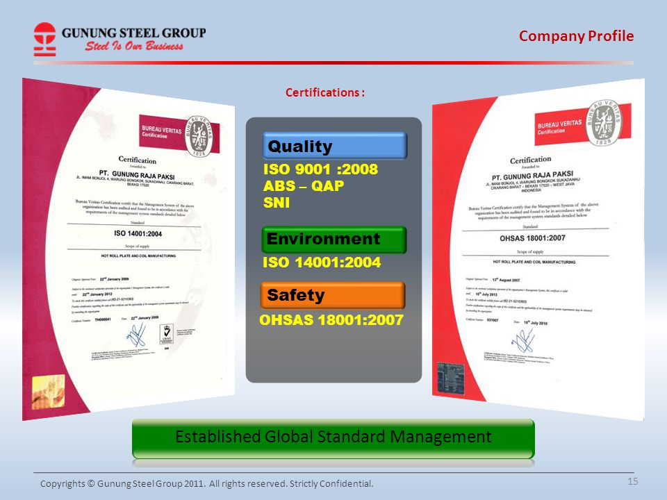 15 Company Profile Copyrights © Gunung Steel Group 2011. All rights reserved. Strictly Confidential. ISO 14001:2004 Environment OHSAS 18001:2007 Safet