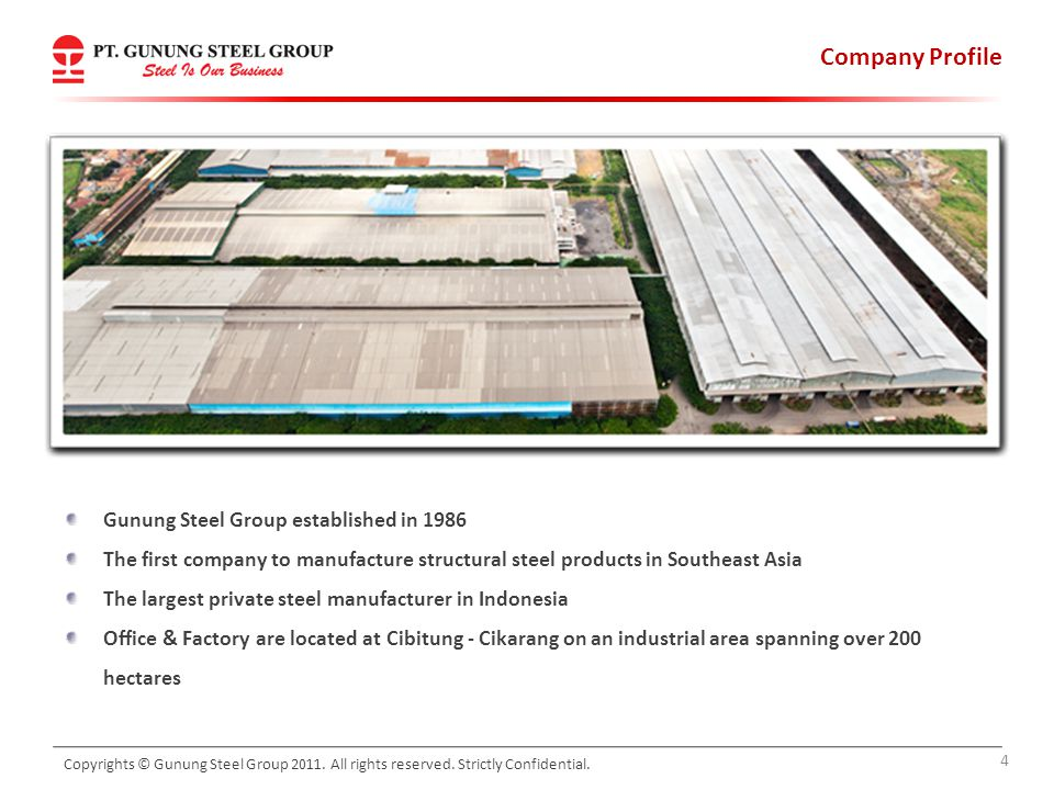 Company Profile Gunung Steel Group established in 1986 The first company to manufacture structural steel products in Southeast Asia The largest privat