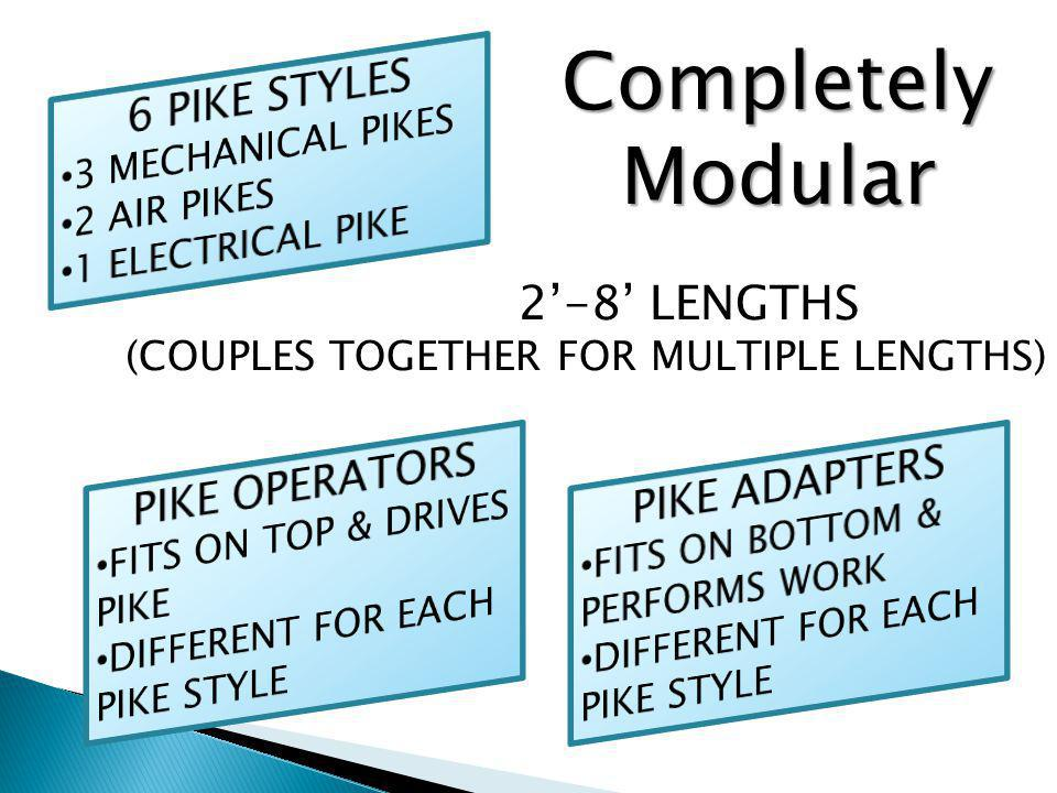2-8 LENGTHS (COUPLES TOGETHER FOR MULTIPLE LENGTHS) Completely Modular