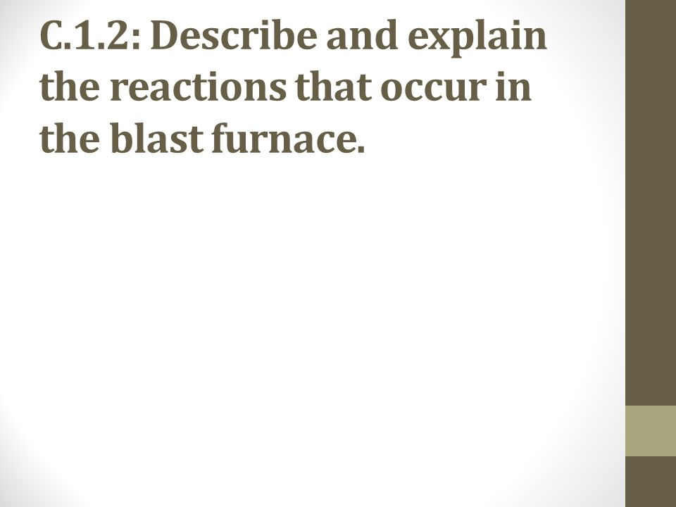C.1.2: Describe and explain the reactions that occur in the blast furnace.
