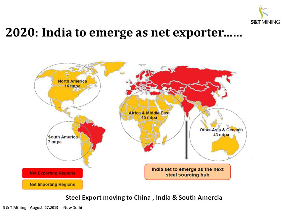 S & T Mining – August 27,2013 - New Delhi 2020: India to emerge as net exporter…… Steel Export moving to China, India & South Amercia