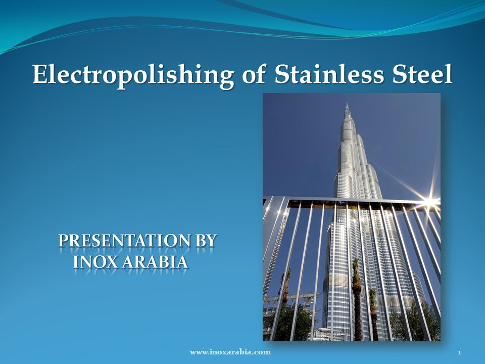 Why Electropolishing in Middle East Because of the local atmospheric condition: Highly salted air from vicinity of the sea High temperature High level of humidity High organic pollution content in air Lack of rain water washing High amount of sand and dust in the air 12www.inoxarabia.com