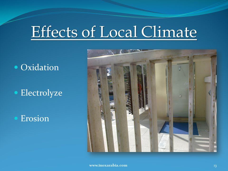 Effects of Local Climate Oxidation Electrolyze Erosion 13www.inoxarabia.com