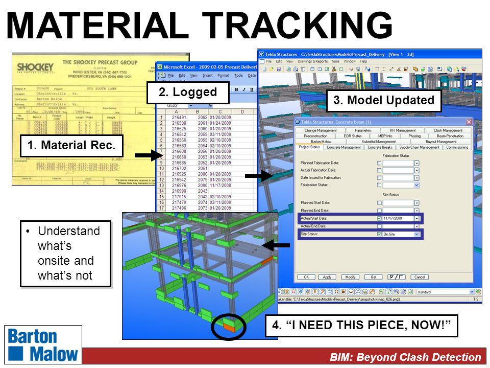 BIM: Beyond Clash Detection MATERIAL TRACKING 1. Material Rec.