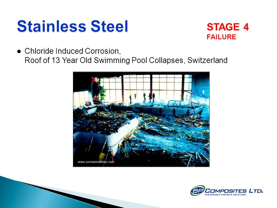 Chloride Induced Corrosion, Roof of 13 Year Old Swimming Pool Collapses, Switzerland STAGE 4 FAILURE