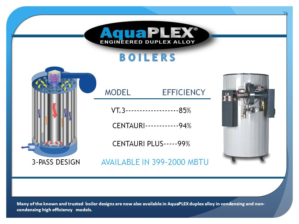 26 V VT.3-------------------85% EFFICIENCYMODEL CENTAURI------------94% CENTAURI PLUS-----99% AVAILABLE IN 399-2000 MBTU 3-PASS DESIGN Many of the known and trusted boiler designs are now also available in AquaPLEX duplex alloy in condensing and non- condensing high efficiency models.