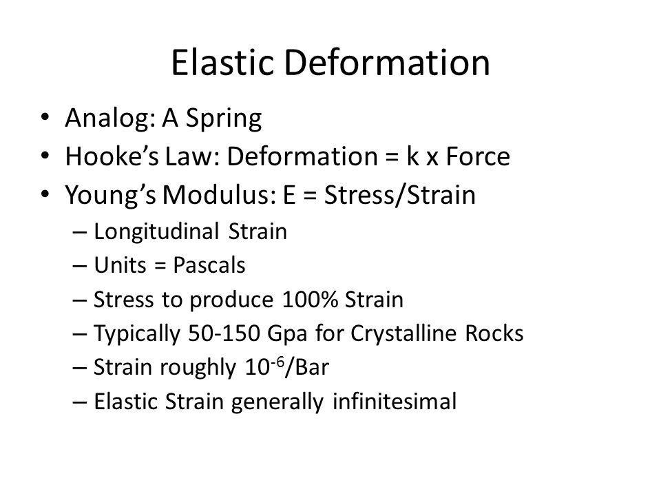 Elastic Deformation Analog: A Spring Hookes Law: Deformation = k x Force Youngs Modulus: E = Stress/Strain – Longitudinal Strain – Units = Pascals – Stress to produce 100% Strain – Typically 50-150 Gpa for Crystalline Rocks – Strain roughly 10 -6 /Bar – Elastic Strain generally infinitesimal