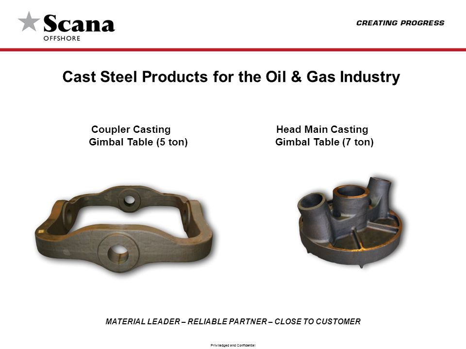 MATERIAL LEADER – RELIABLE PARTNER – CLOSE TO CUSTOMER Priviledged and Confidential Cast Steel Products for the Oil & Gas Industry Coupler Casting Head Main Casting Gimbal Table (5 ton) Gimbal Table (7 ton)