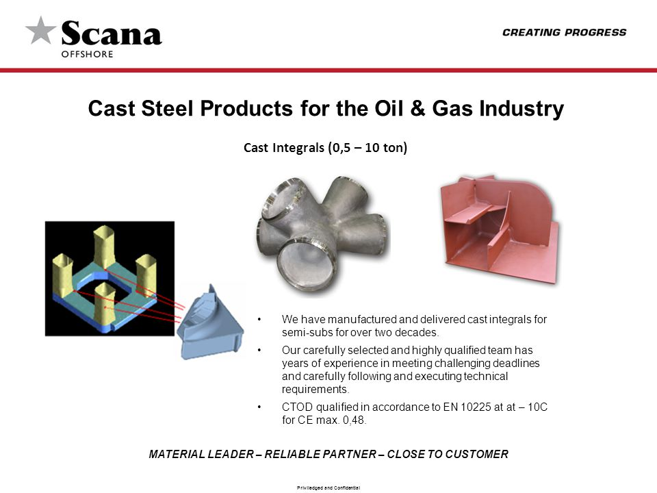 MATERIAL LEADER – RELIABLE PARTNER – CLOSE TO CUSTOMER Priviledged and Confidential Cast Steel Products for the Oil & Gas Industry Cast Integrals (0,5 – 10 ton) We have manufactured and delivered cast integrals for semi-subs for over two decades.