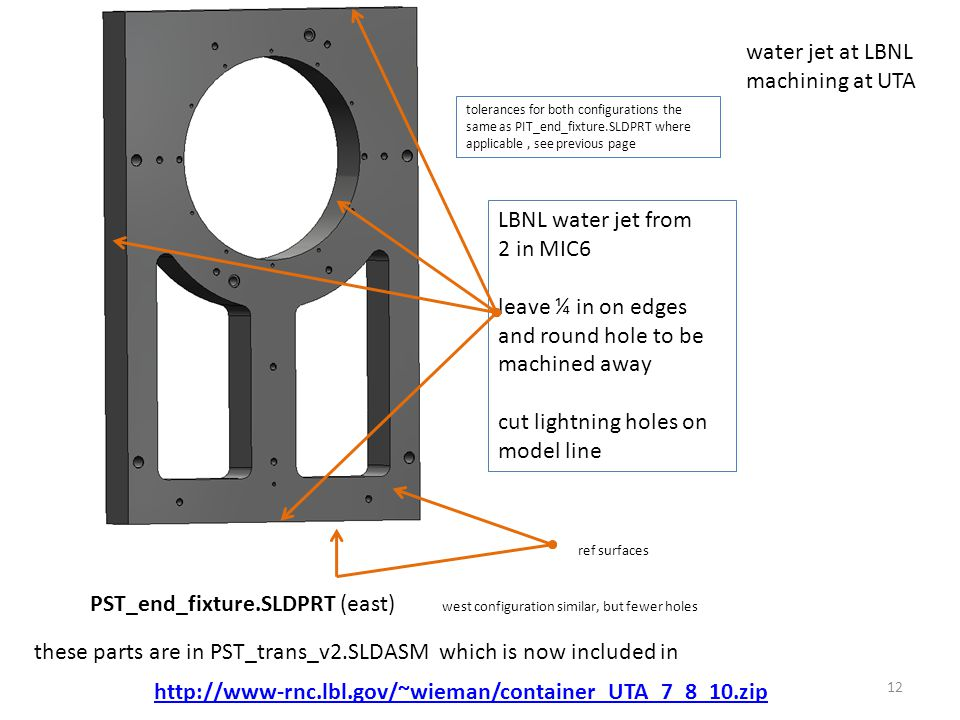 12 PST_end_fixture.SLDPRT (east) west configuration similar, but fewer holes tolerances for both configurations the same as PIT_end_fixture.SLDPRT where applicable, see previous page ref surfaces water jet at LBNL machining at UTA LBNL water jet from 2 in MIC6 leave ¼ in on edges and round hole to be machined away cut lightning holes on model line http://www-rnc.lbl.gov/~wieman/container_UTA_7_8_10.zip these parts are in PST_trans_v2.SLDASM which is now included in