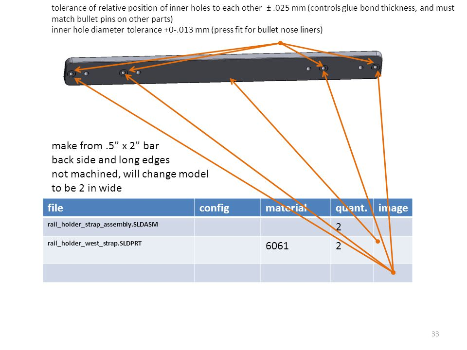 fileconfigmaterialquant.image rail_holder_strap_assembly.SLDASM 2 rail_holder_west_strap.SLDPRT 60612 tolerance of relative position of inner holes to each other ±.025 mm (controls glue bond thickness, and must match bullet pins on other parts) inner hole diameter tolerance +0-.013 mm (press fit for bullet nose liners) 33 make from.5 x 2 bar back side and long edges not machined, will change model to be 2 in wide