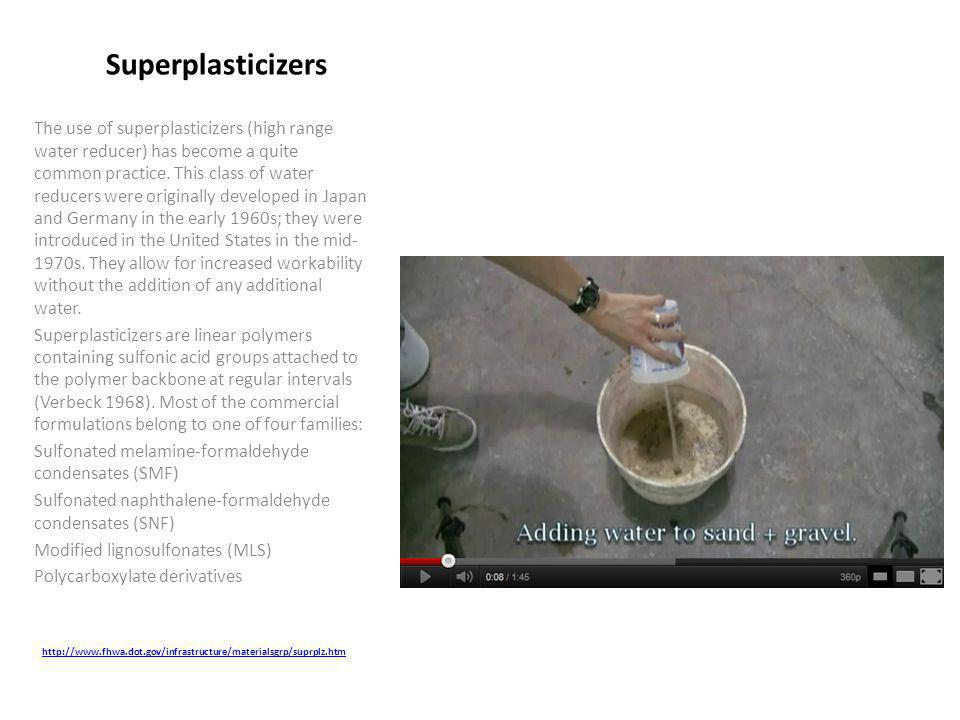 The use of superplasticizers (high range water reducer) has become a quite common practice.