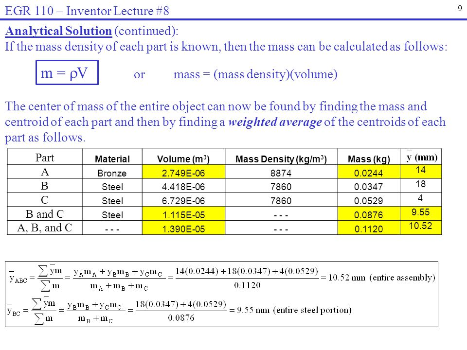 9 EGR 110 – Inventor Lecture #8 Analytical Solution (continued): If the mass density of each part is known, then the mass can be calculated as follows: or mass = (mass density)(volume) m = V The center of mass of the entire object can now be found by finding the mass and centroid of each part and then by finding a weighted average of the centroids of each part as follows.