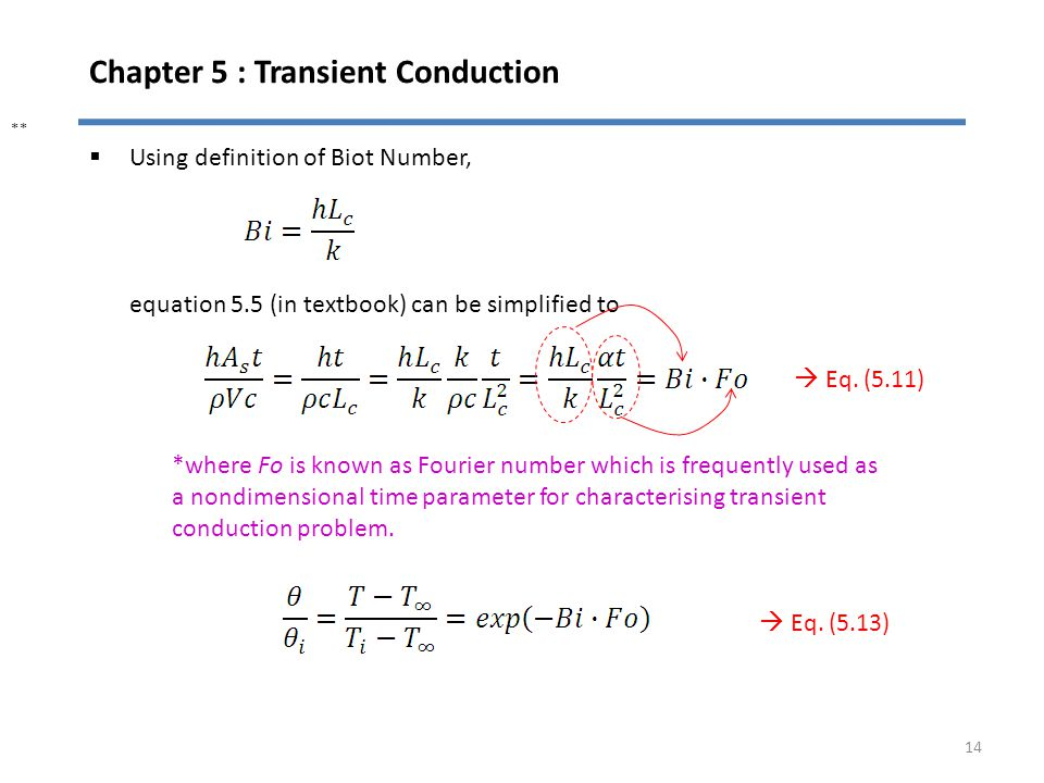 Chapter 5 : Transient Conduction 14 Using definition of Biot Number, equation 5.5 (in textbook) can be simplified to *where Fo is known as Fourier num