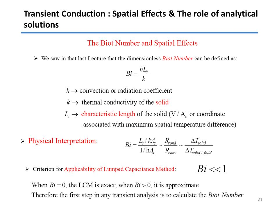 Transient Conduction : Spatial Effects & The role of analytical solutions 21