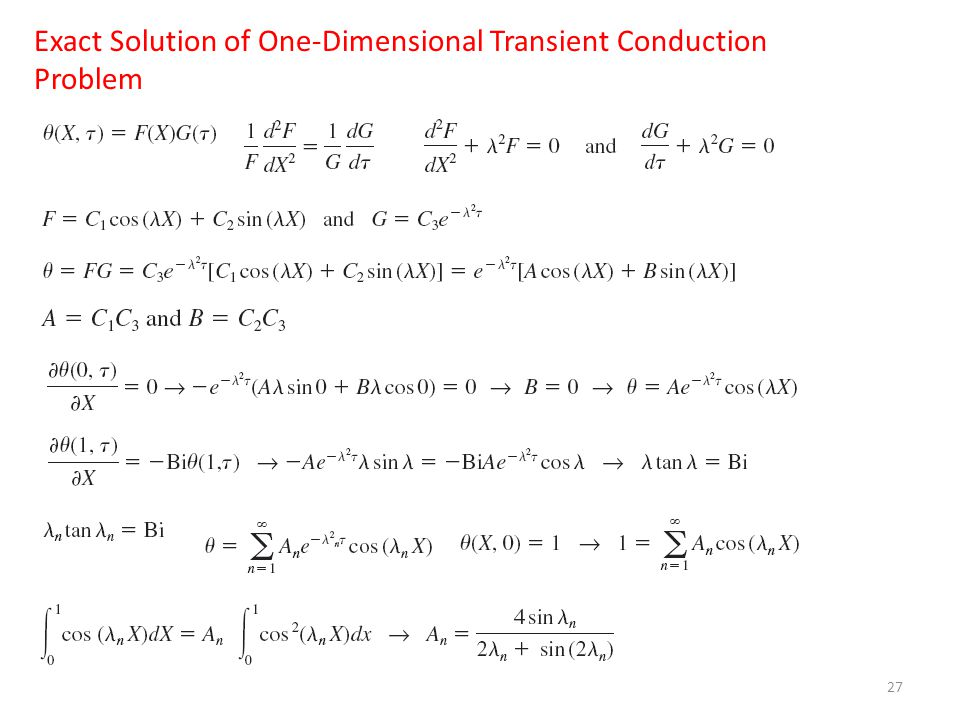 27 Exact Solution of One-Dimensional Transient Conduction Problem