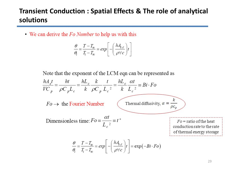Transient Conduction : Spatial Effects & The role of analytical solutions 29 Thermal diffusivity, Fo = ratio of the heat conduction rate to the rate o