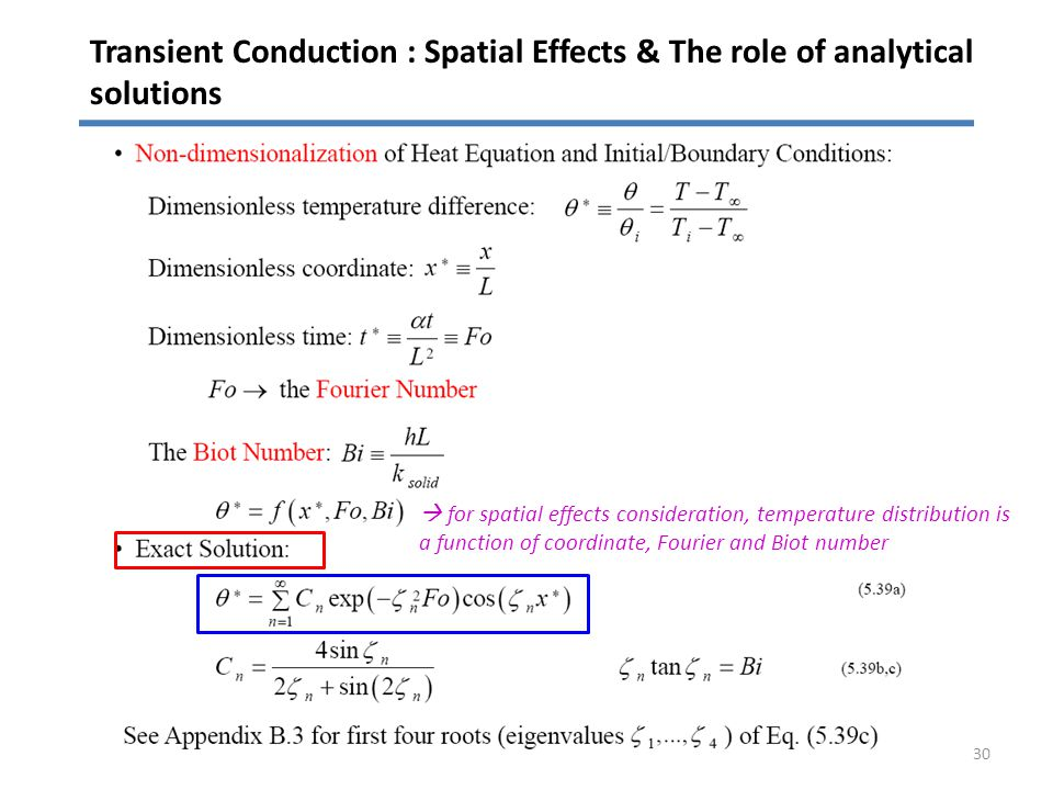 Transient Conduction : Spatial Effects & The role of analytical solutions 30 for spatial effects consideration, temperature distribution is a function