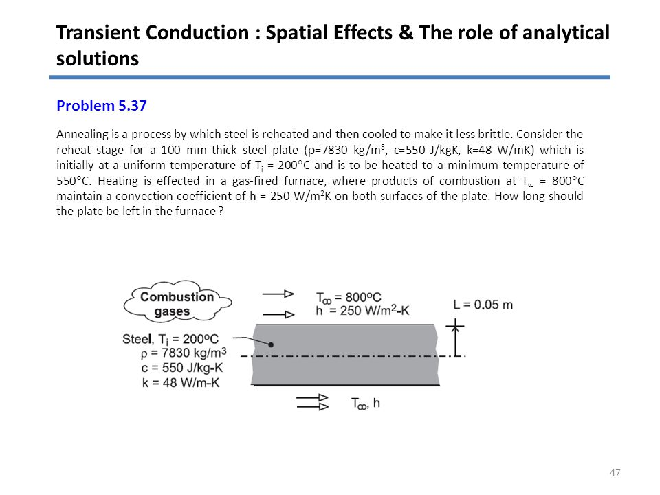 Transient Conduction : Spatial Effects & The role of analytical solutions 47 Problem 5.37 Annealing is a process by which steel is reheated and then c