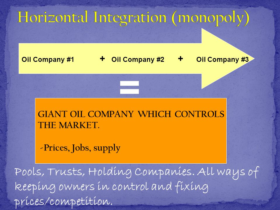 Oil Company #1 + Oil Company #2 + Oil Company #3 GIANT OIL COMPANY WHICH CONTROLS THE MARKET.