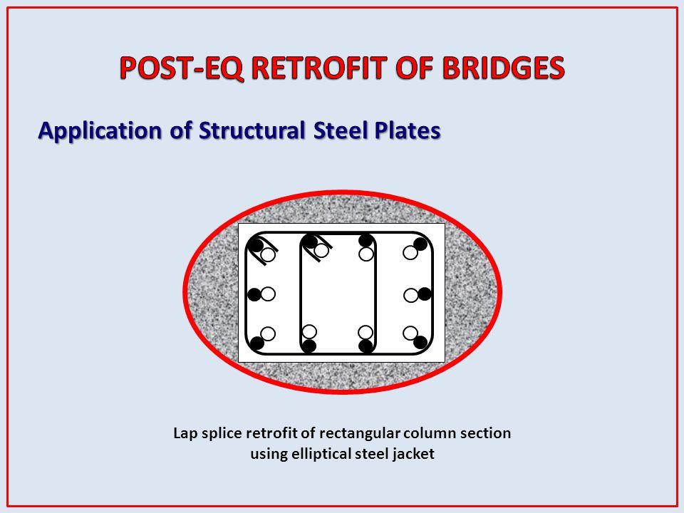 Lap splice retrofit of rectangular column section using elliptical steel jacket