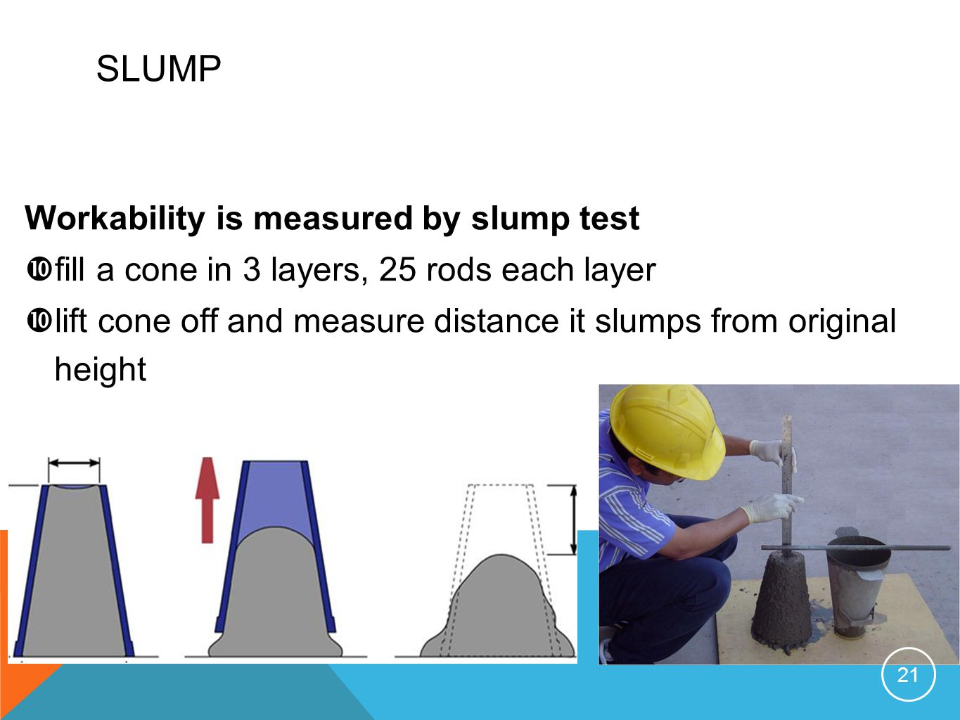 SLUMP Workability is measured by slump test fill a cone in 3 layers, 25 rods each layer lift cone off and measure distance it slumps from original hei