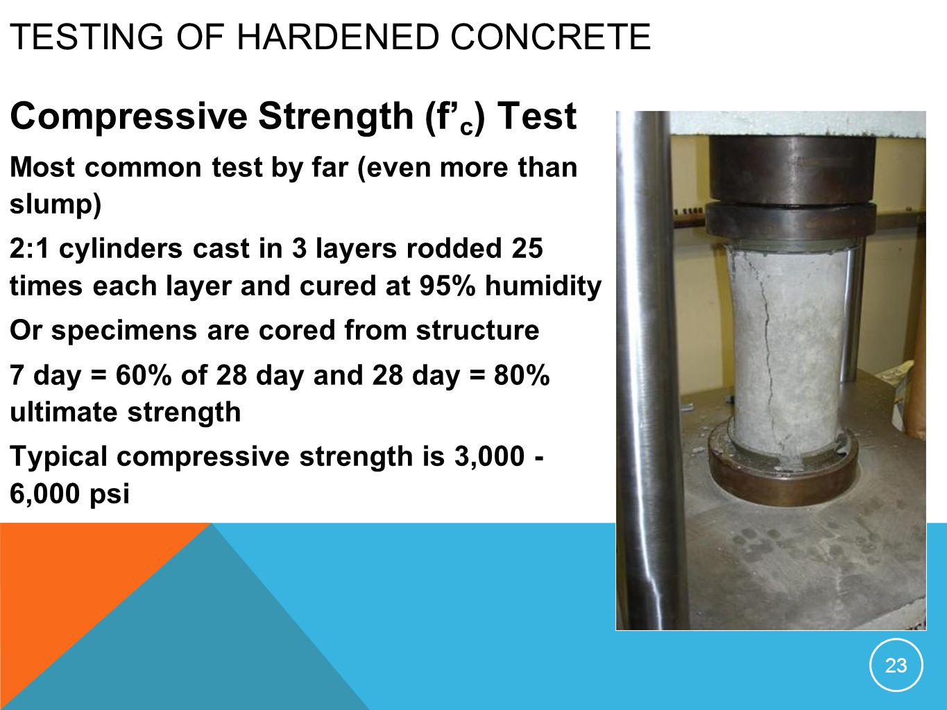TESTING OF HARDENED CONCRETE Compressive Strength (f c ) Test Most common test by far (even more than slump) 2:1 cylinders cast in 3 layers rodded 25