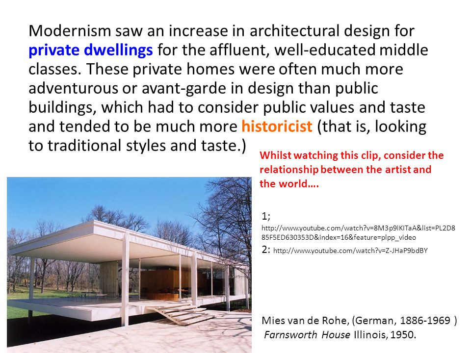 Modernism saw an increase in architectural design for private dwellings for the affluent, well-educated middle classes. These private homes were often