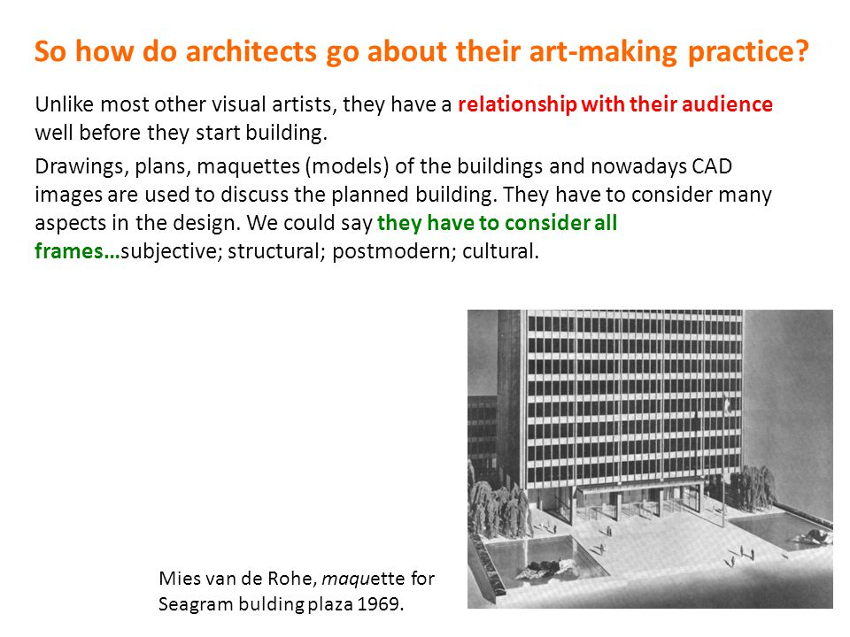 So how do architects go about their art-making practice? Unlike most other visual artists, they have a relationship with their audience well before th