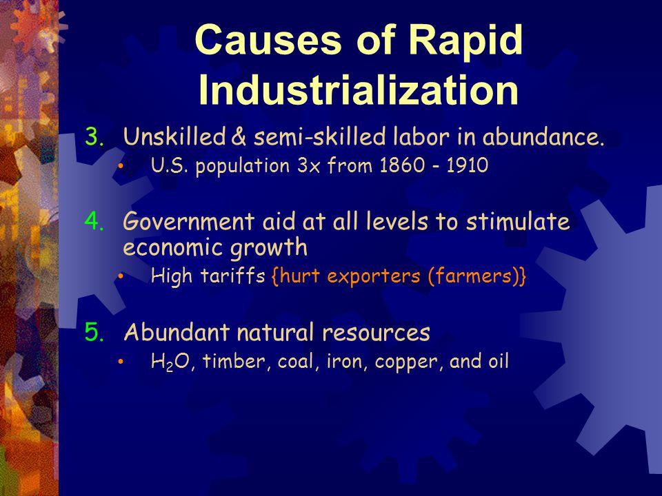 Causes of Rapid Industrialization 3.Unskilled & semi-skilled labor in abundance.