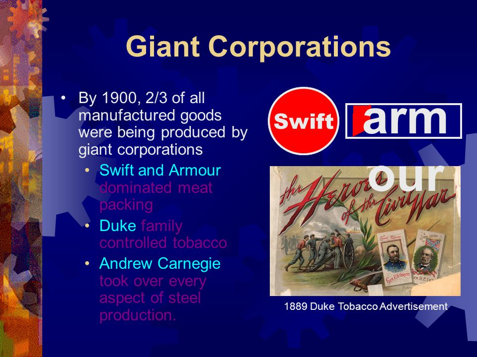 Giant Corporations By 1900, 2/3 of all manufactured goods were being produced by giant corporations Swift and Armour dominated meat packing Duke family controlled tobacco Andrew Carnegie took over every aspect of steel production.