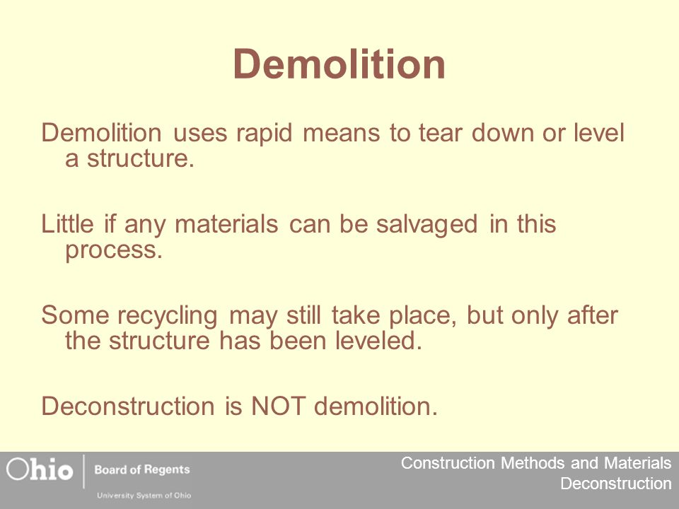 Construction Methods and Materials Deconstruction On Site Dangers Mold – located in non ventilated areas, usually as a result of flooding or water penetration.