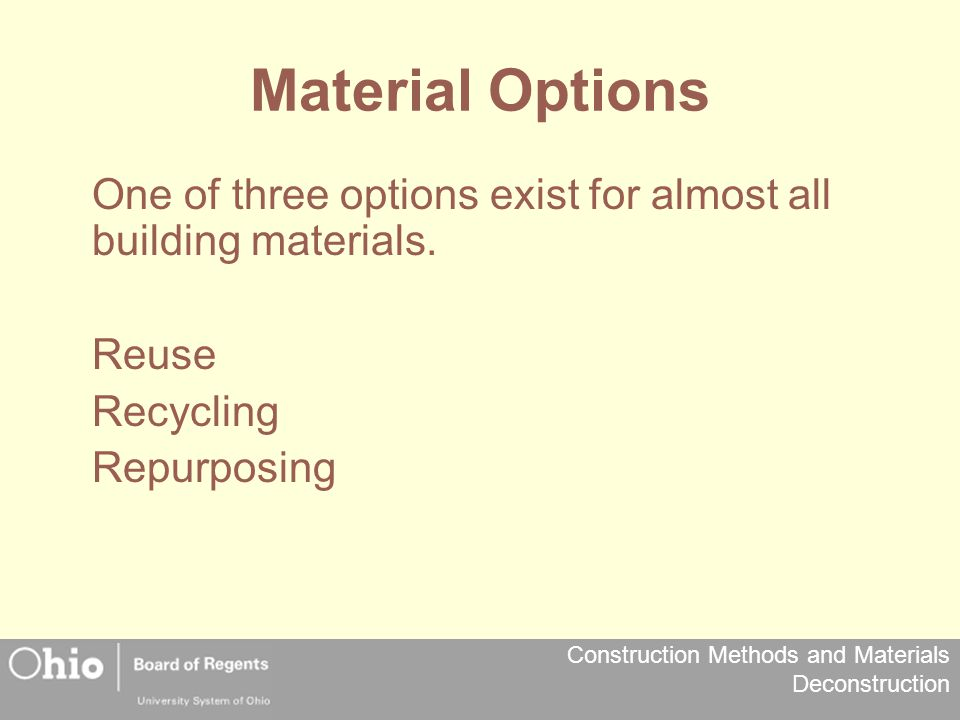 Construction Methods and Materials Deconstruction Personal Protective Equipment Hardhat – For overhead hazards Lanyard – For elevated work Goggles – For cutting, chipping, striking (especially metal to metal such as hammer to crowbar) Boots – Preferable steel toe with a steel shank Gloves – Protect hands from splinters, cuts