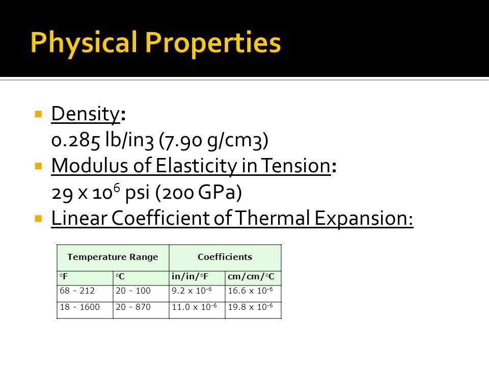 Thermal Conductivity: Temperature Range Btu/hr/ft /°F W/m /K °F°C 2121009.416.3 93250012.421.4 Specific Heat: °F°CBtu/lb/°F J/kg/ K 32-2120-1000.12500 Magnetic Permeability: Percent Cold Work Magnetic Permeability 304304L 01.0051.015 101.0091.064 301.1633.235 502.2918.480