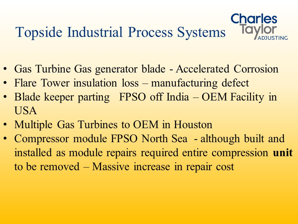 Topside Industrial Process Systems Gas Turbine Gas generator blade - Accelerated Corrosion Flare Tower insulation loss – manufacturing defect Blade ke