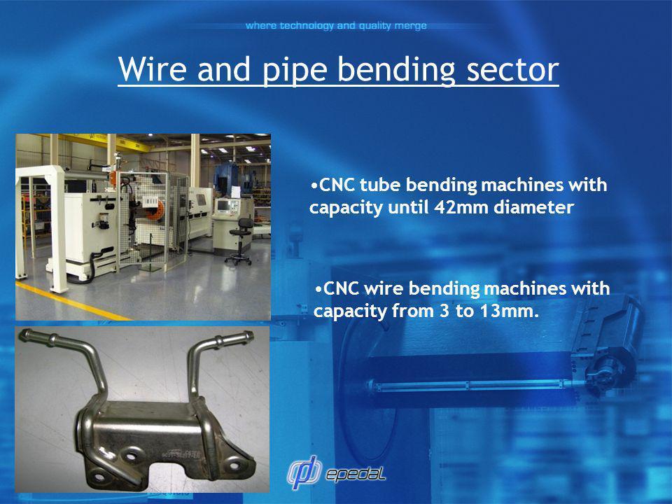Equipments 1 CNC Pipe bending Machine ø50mm 2 CNC Pipe bending Machine E-turn BLM ø20mm 1 CNC Pipe bending Machine E-turn BLM ø32mm 1 CNC Pipe bending Machine E-turn BLM ø45mm 1 CNC Automatic Saw Adige/BLM 3 Wire Bending Machines ø3 to 13mm 2 CNC Pipe Endforming Machine BLM 1 CNC Endforming/bending Wire Nummaliance ø4 to 12mm
