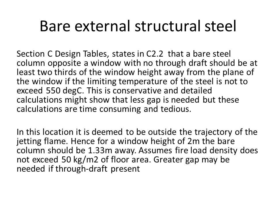 Bare external structural steel Section C Design Tables, states in C2.2 that a bare steel column opposite a window with no through draft should be at l