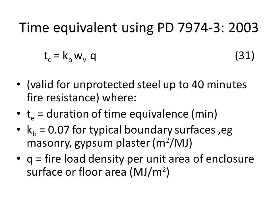 Time equivalent using PD 7974-3: 2003 t e = k b w v q(31) (valid for unprotected steel up to 40 minutes fire resistance) where: t e = duration of time equivalence (min) k b = 0.07 for typical boundary surfaces,eg masonry, gypsum plaster (m 2 /MJ) q = fire load density per unit area of enclosure surface or floor area (MJ/m 2 )