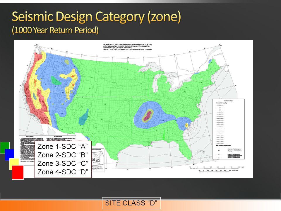 Zone 1-SDC A Zone 2-SDC B Zone 3-SDC C Zone 4-SDC D SITE CLASS D